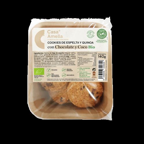 Cookies d'espelta i quinoa amb xocolata i coco Bio Casa Amella