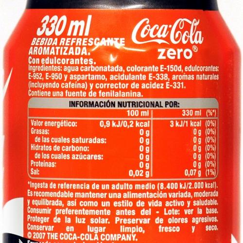 Lata de Cocacola  zero