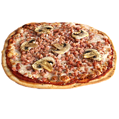 Pizza pernil dolç i xampinyons