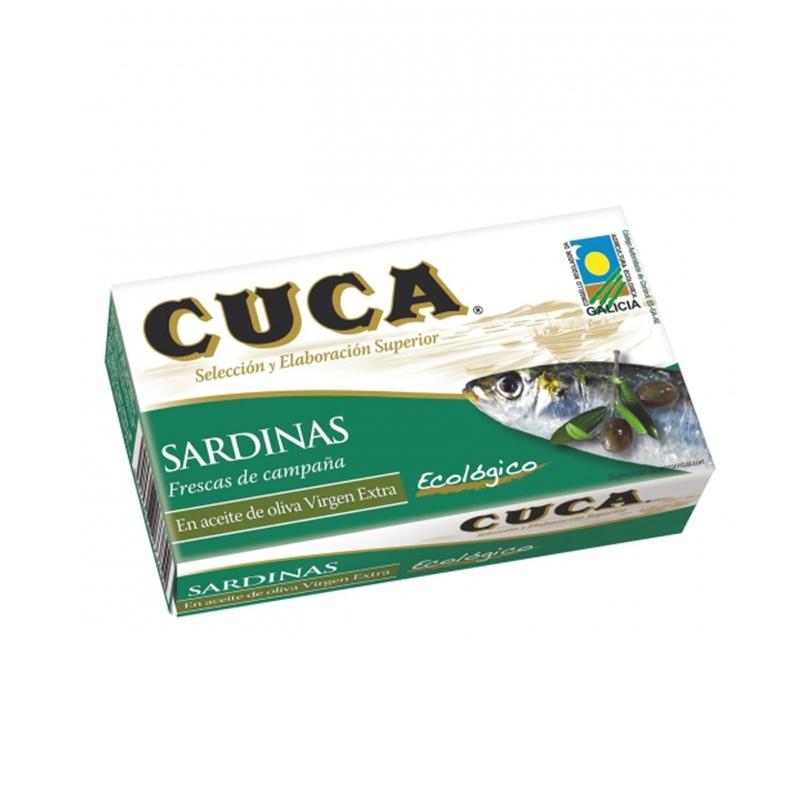 Sardines amb oli d'oliva verge extra ecològic Cuca 120 g.